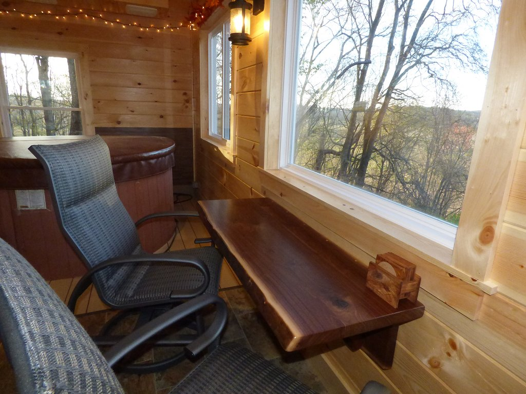 Enclosed Back Porch Dining Table/Picture Window - Enjoy great views from the picture windows in our brand new Indoor Hot Tub/Game Room