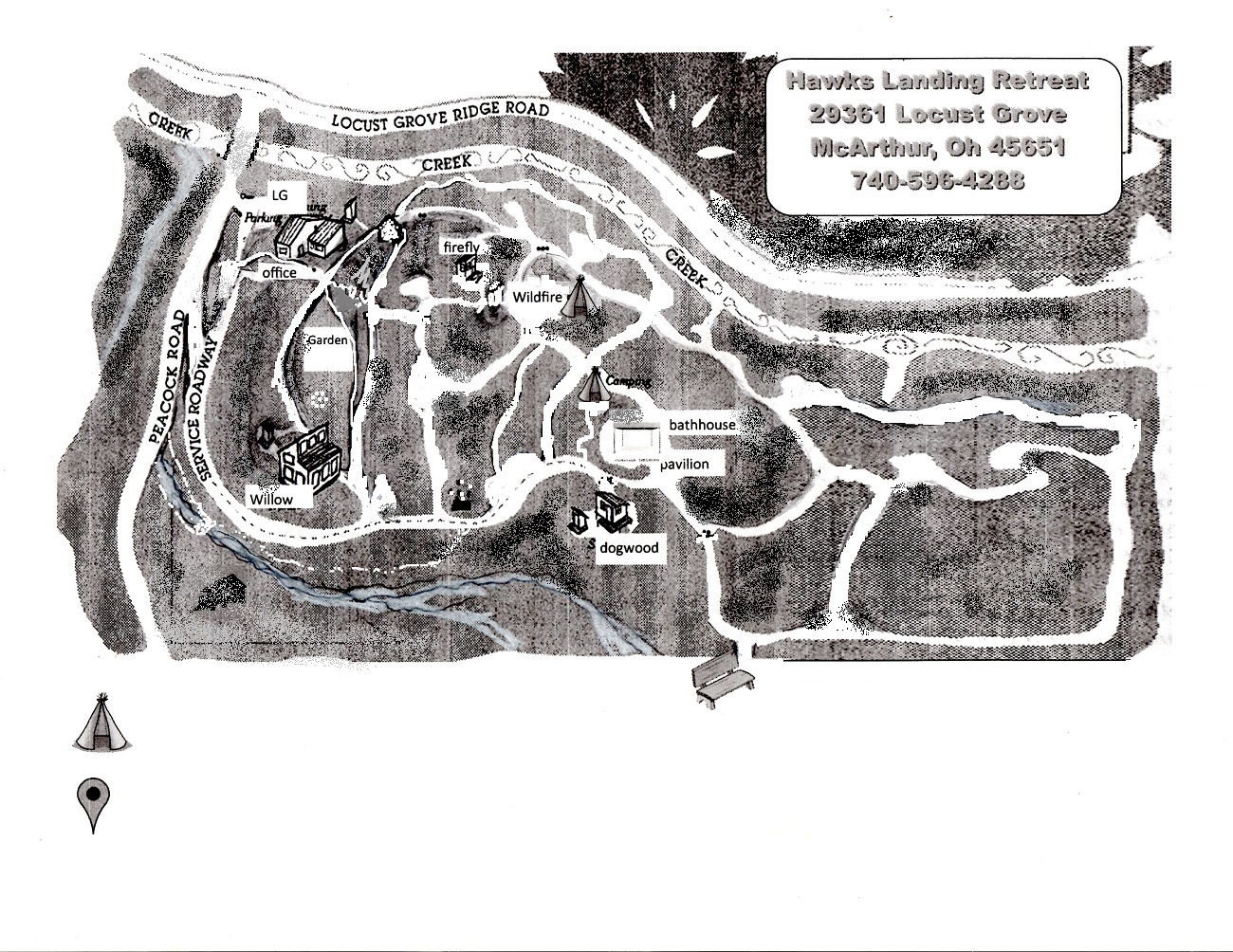 Hawks Landing Retreat Center - Overview Map w/trails and 50 acre view