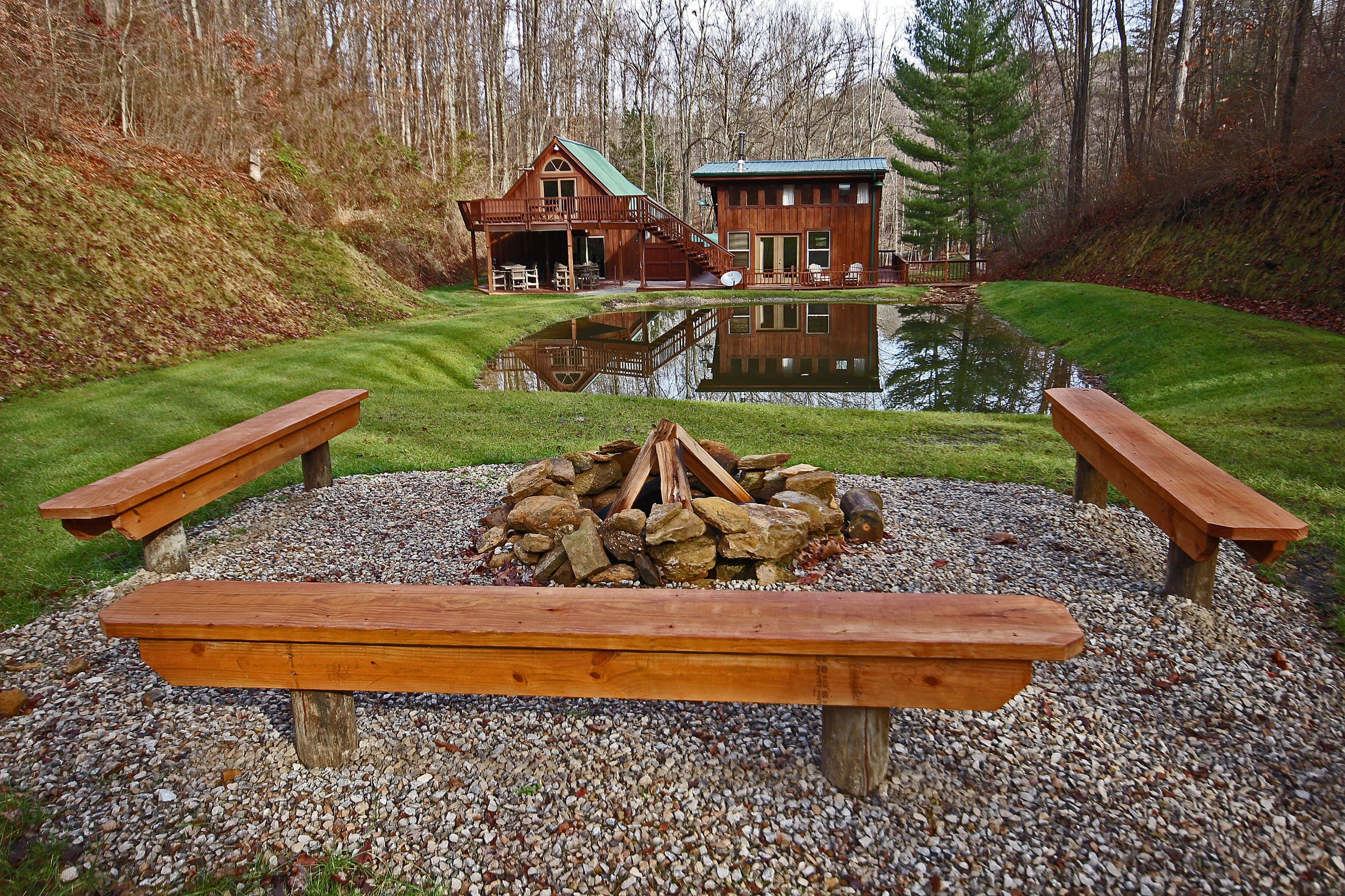 Rear Exterior - View from fire pit back to Hidden Valley overlooking small pond not stocked for fish