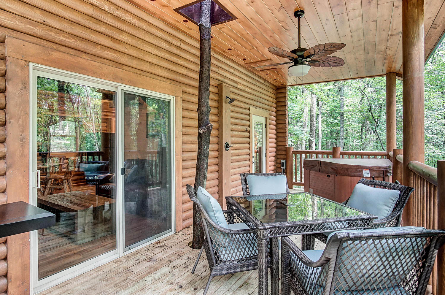 Treehouse Back Deck - Back Deck with hot tub, outdoor shower, grill and seating