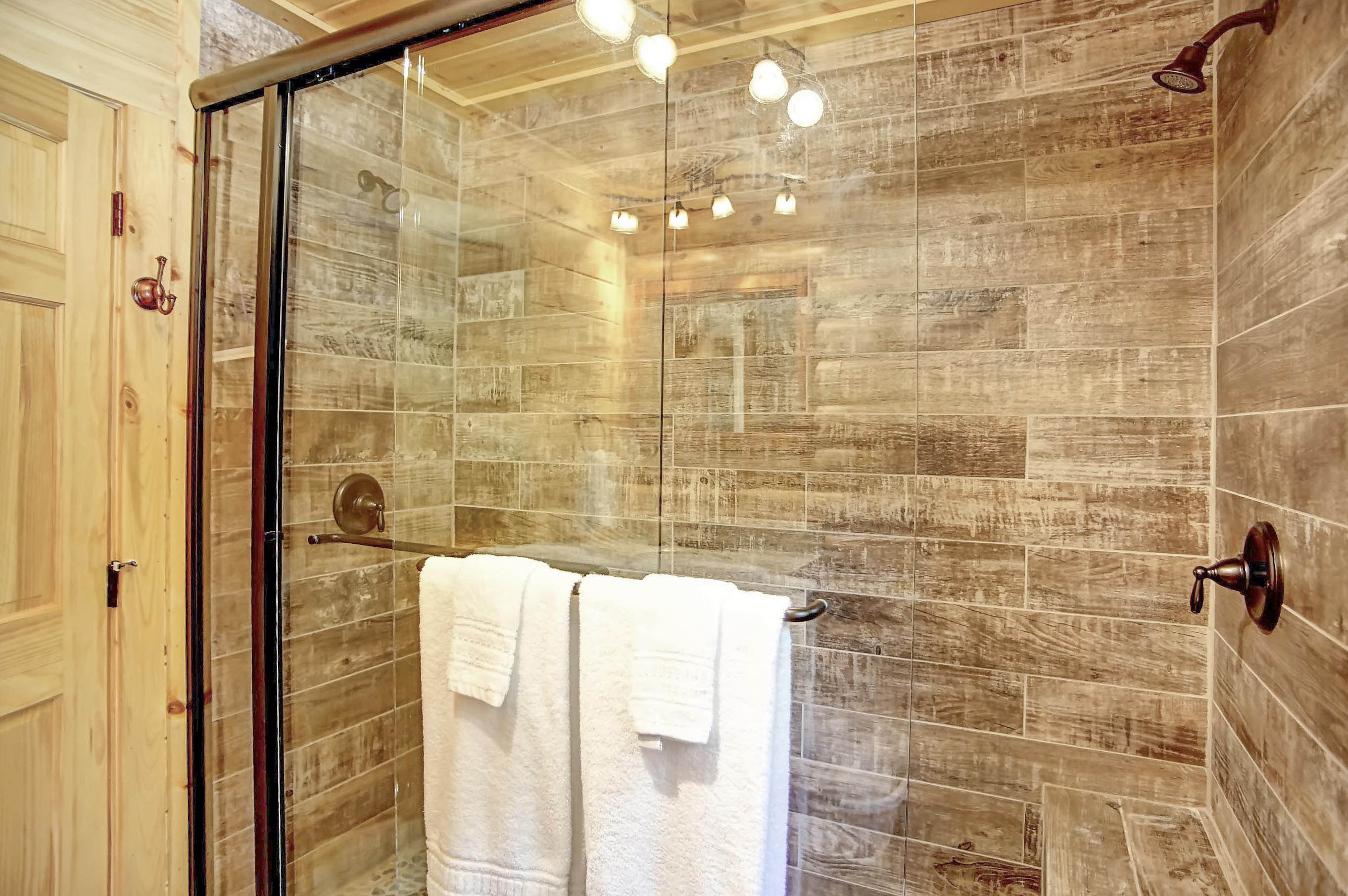 Shower - Large walk-in shower with double shower heads