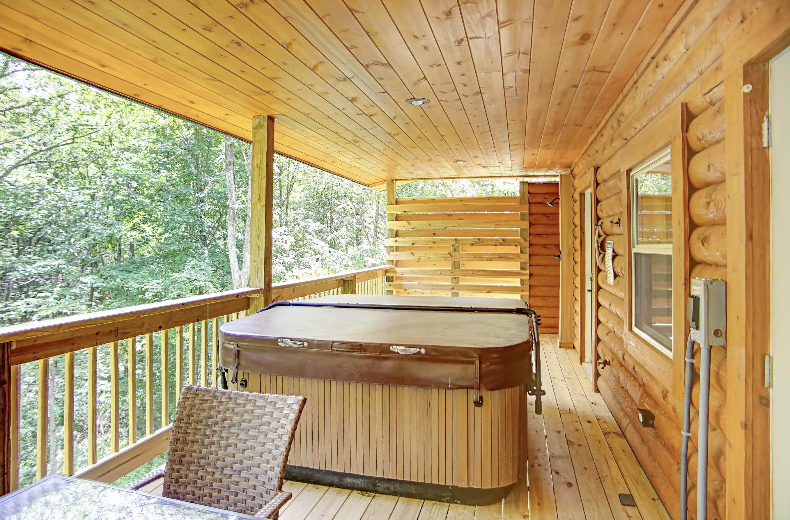 Back Deck - Private back deck with hot tub, seasonal outdoor shower and seating