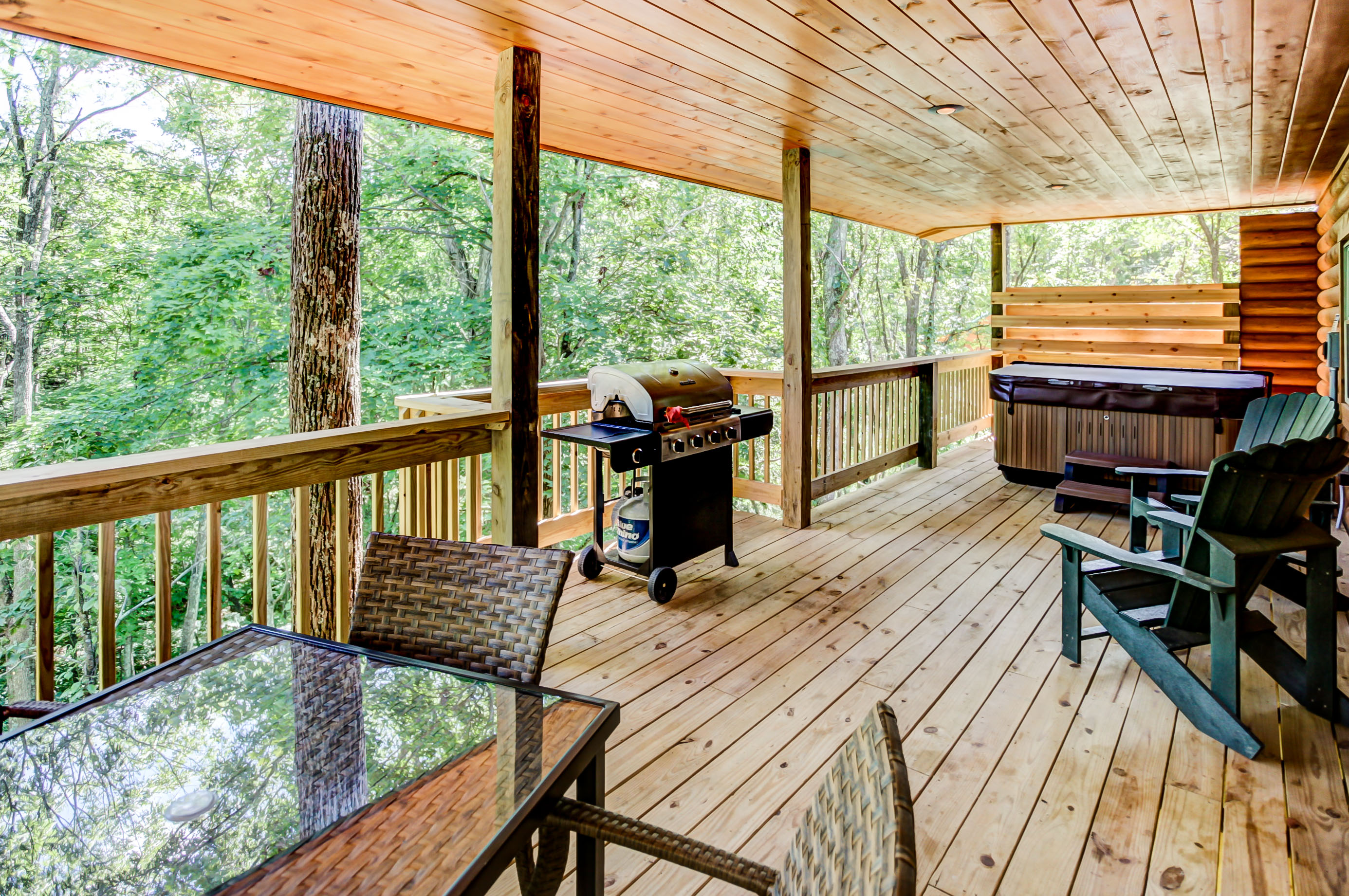 Briarwood Deck - Wrap-around deck with porch swing, seating, gas grill and hot tub