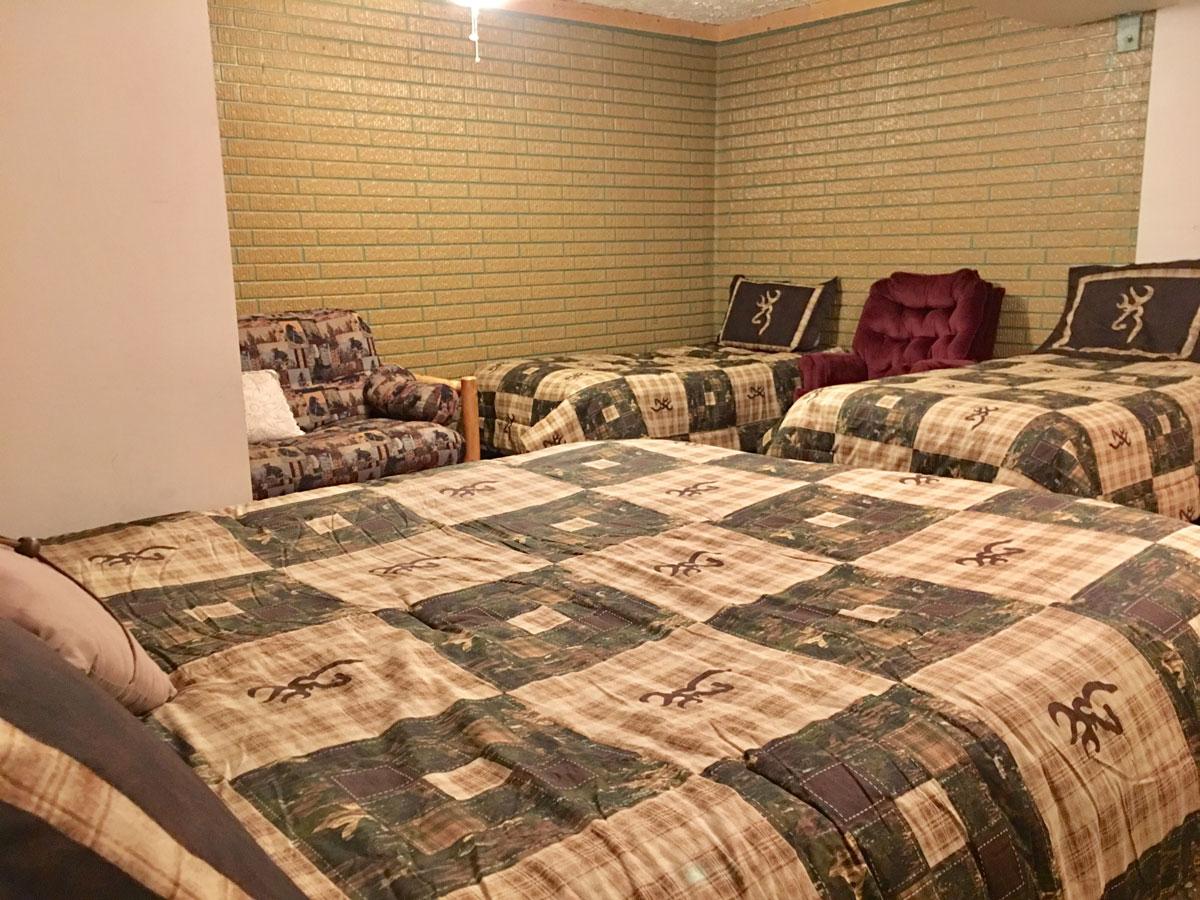 Mountain Lodge - Basement bedroom 1 Queen, 2 single beds.