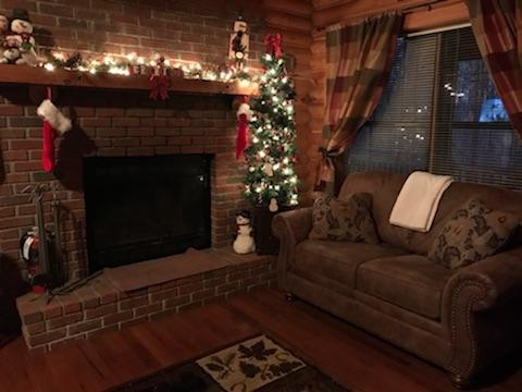 Fireplace  - Wood-burning fireplace, decorated for Christmas!