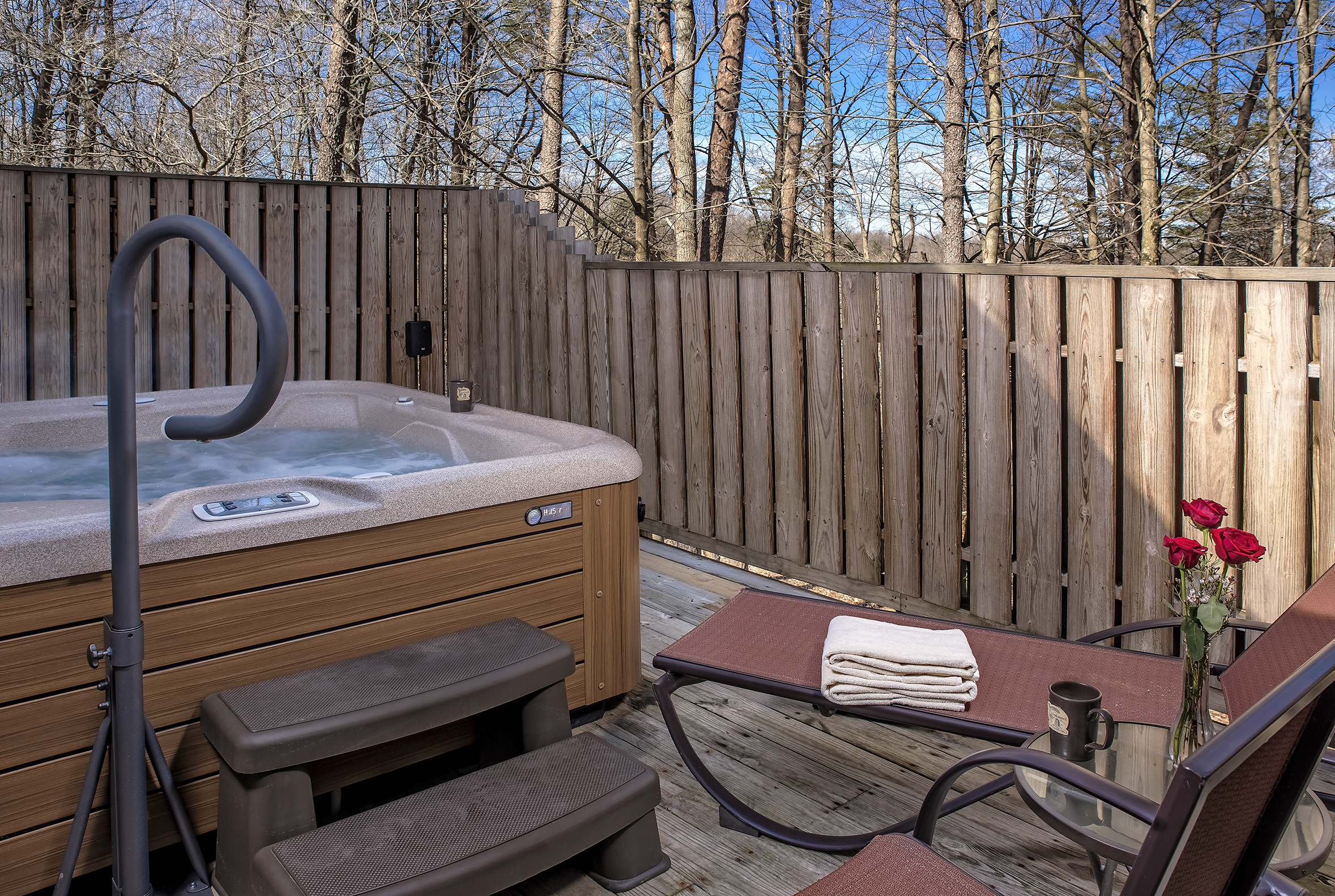Private Hot Tubs - Quite possibly the most romantic spot!