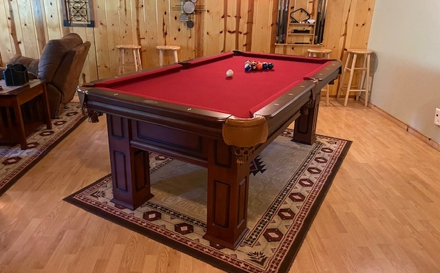Photo 1407_12184.jpg - The lower level houses our game room including this new pool table in 2021.