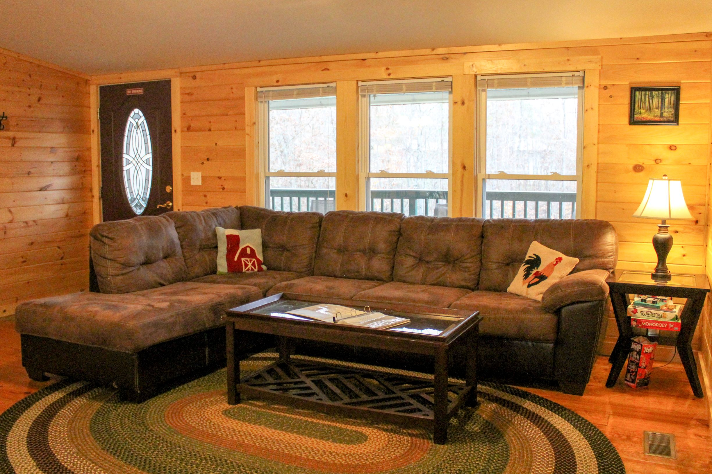 Bobcat Cabin Living Room 1  - Spacious living room for relaxing in after vising Hocking Hills, Wayne National Forest, or Athens, Ohio and Ohio University.