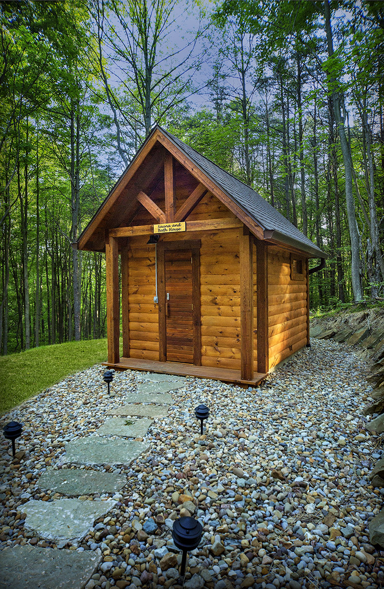 Detached sauna - The sauna has a shower and changing area.