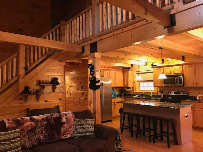 Black Bear Hideaway - Open floor plan with lofted area above.