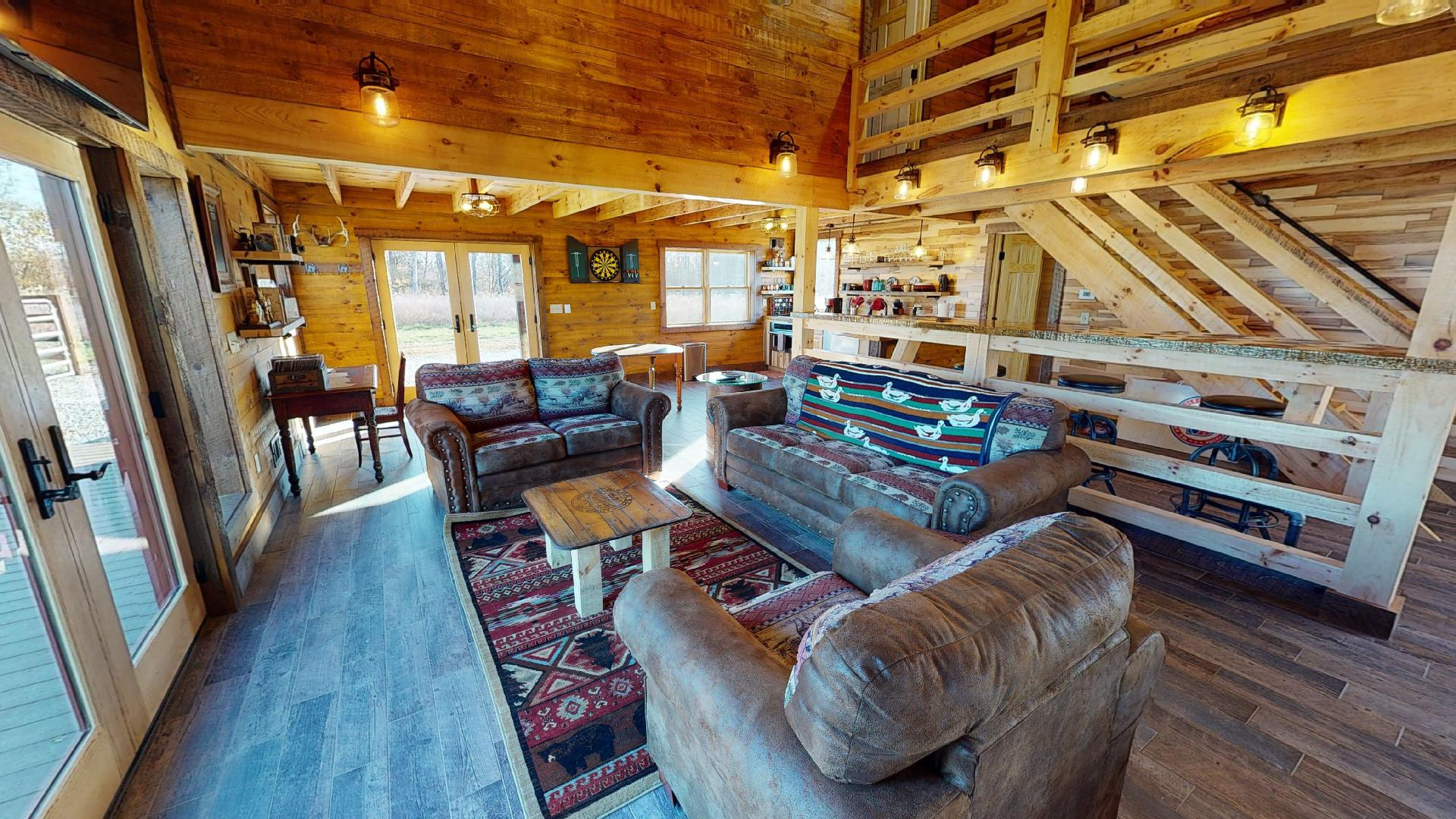 Stable living/entertainment - Comfortable couches and a big screen tv.