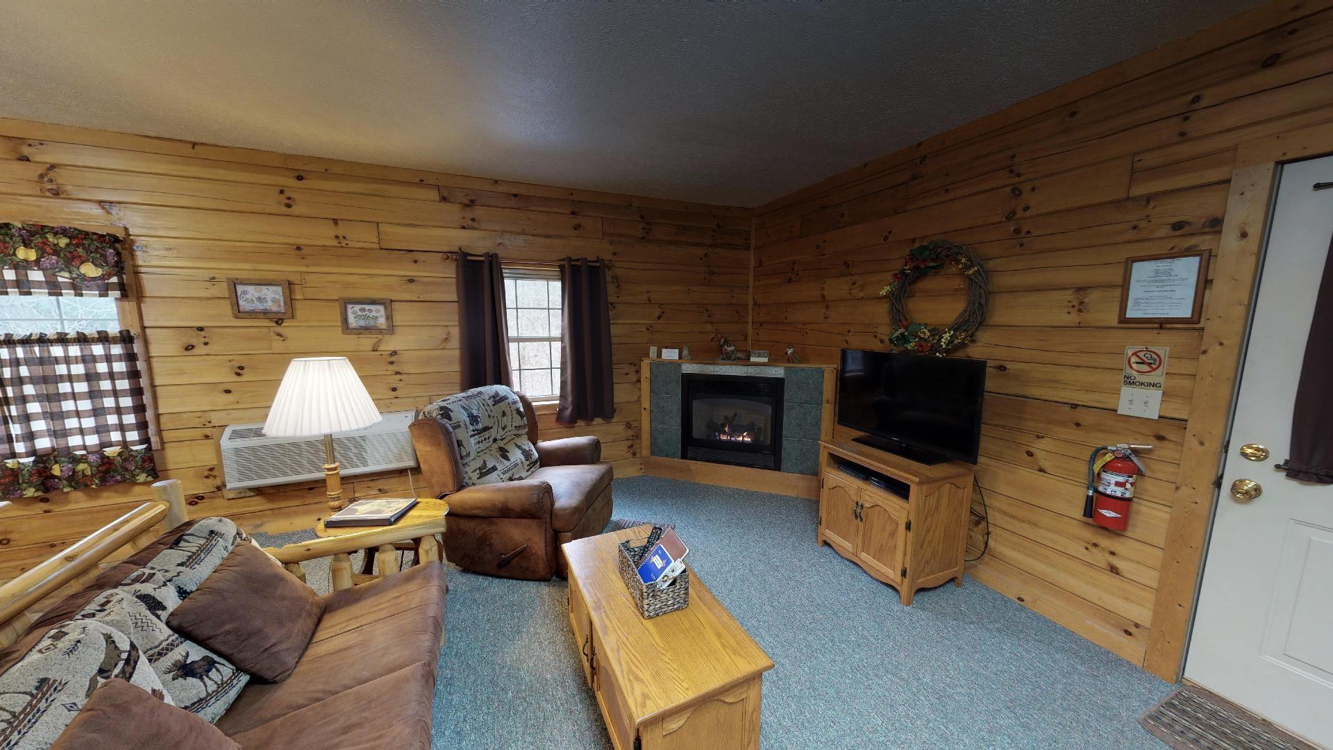 Briarwood Couples Cabin - Living Room. DirecTV gas log fireplace.