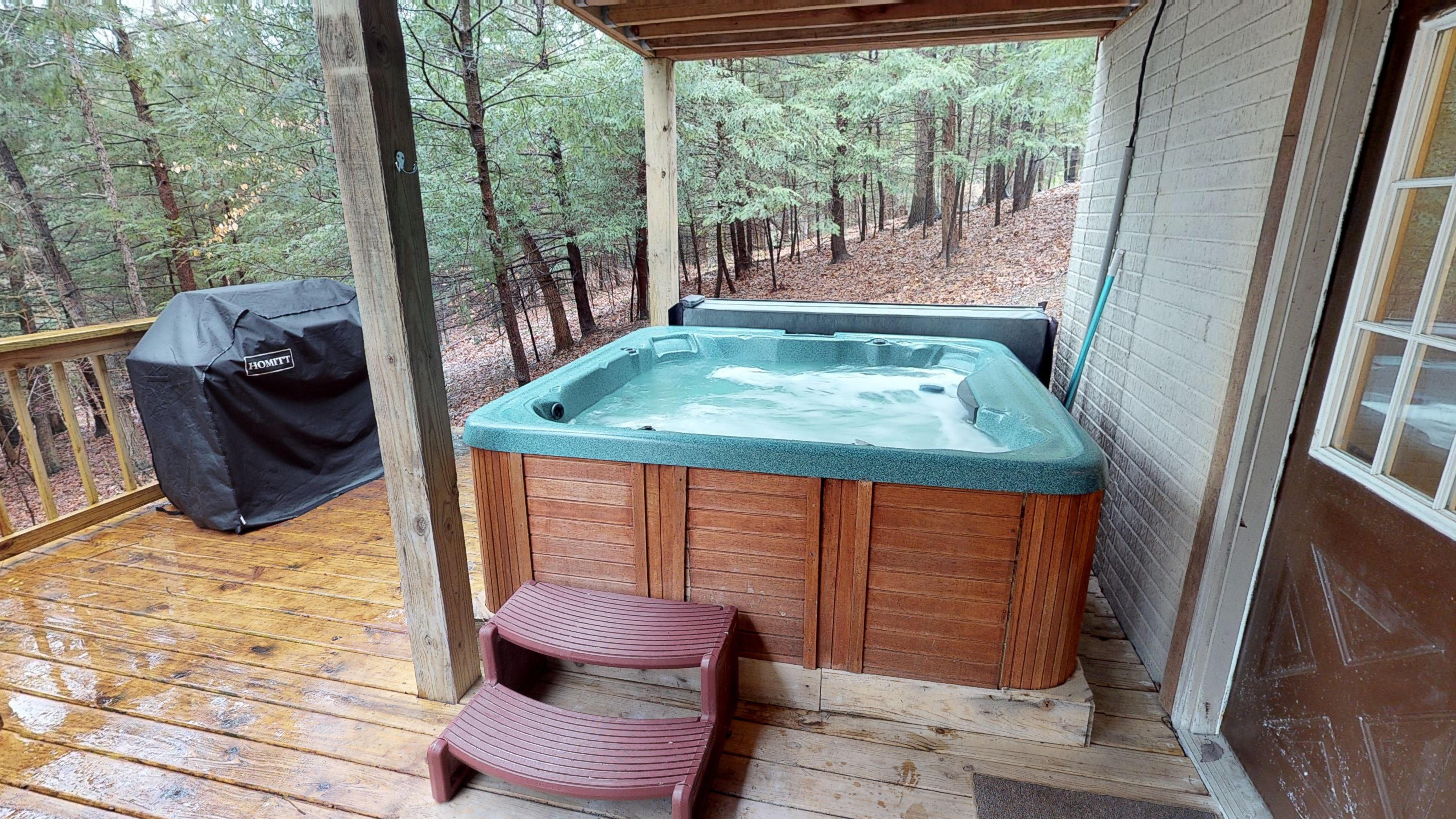 Photo 619_10252.jpg - hot tub at Wyandot cabin is completely secluded and covered.  you have unobstructed views of the woods on all sides