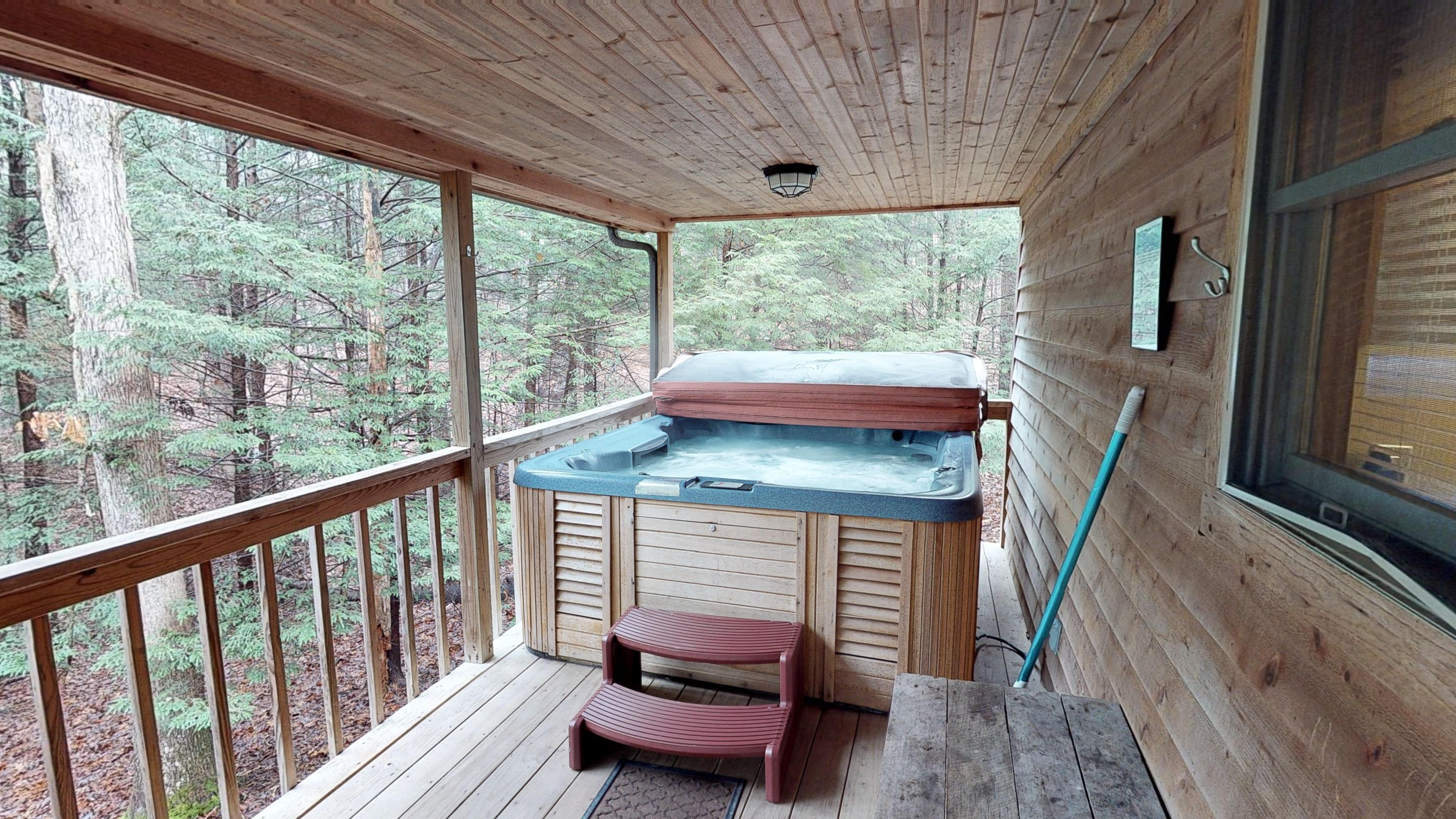 Photo 619_10261.jpg - the hot tub is located on the raised back deck and is completely secluded.  your view is of the woods surrounding you.