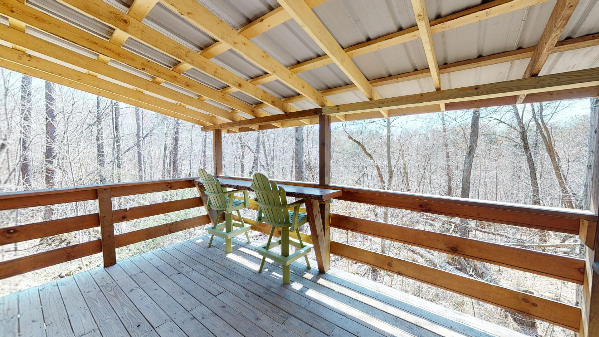 Yesteryear Back Deck - Enjoy views of nature from the private back porch.
