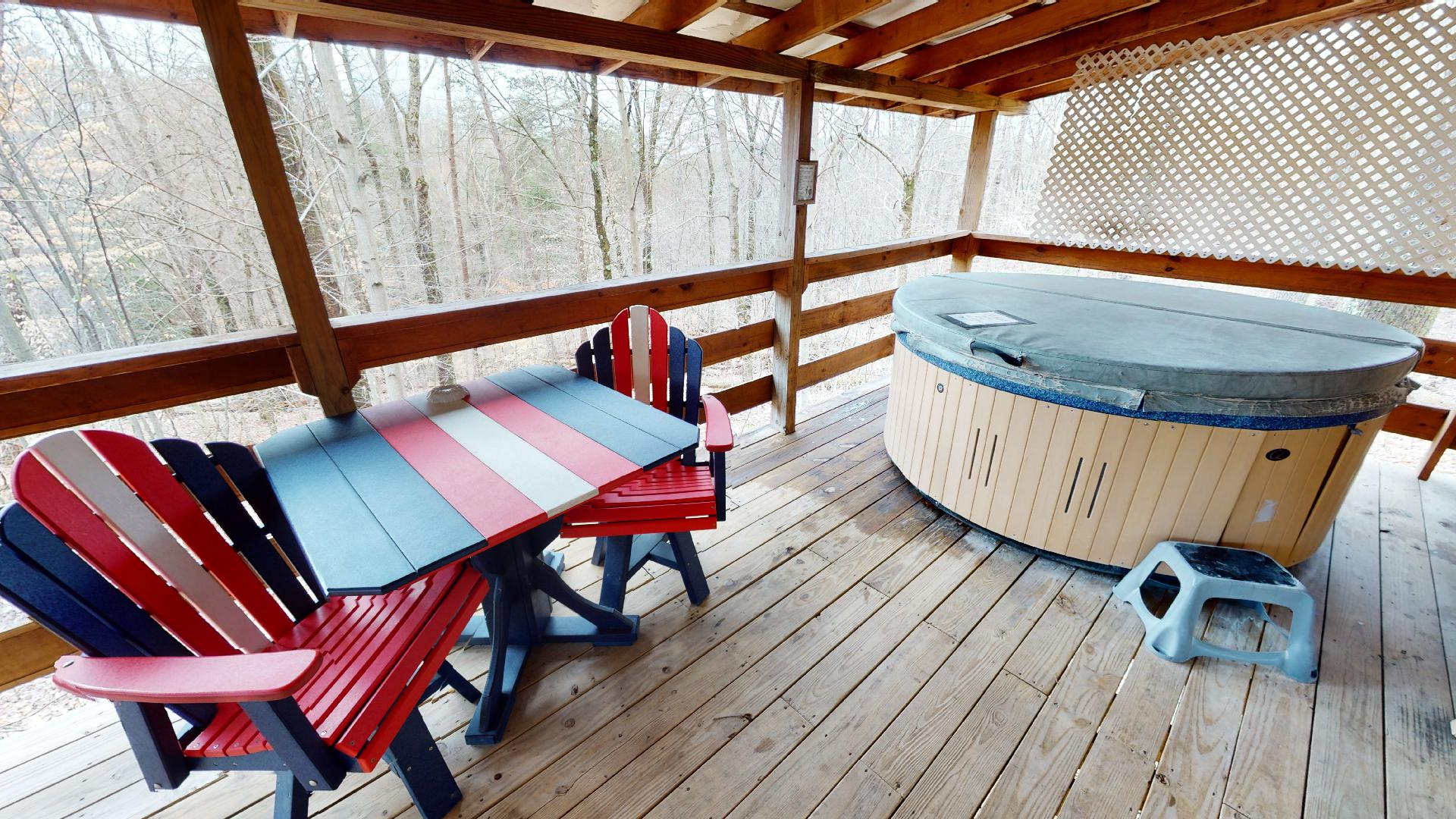 Photo 663_9177.jpg - Private 2 person hot tub on the covered back deck. Nice seating area.