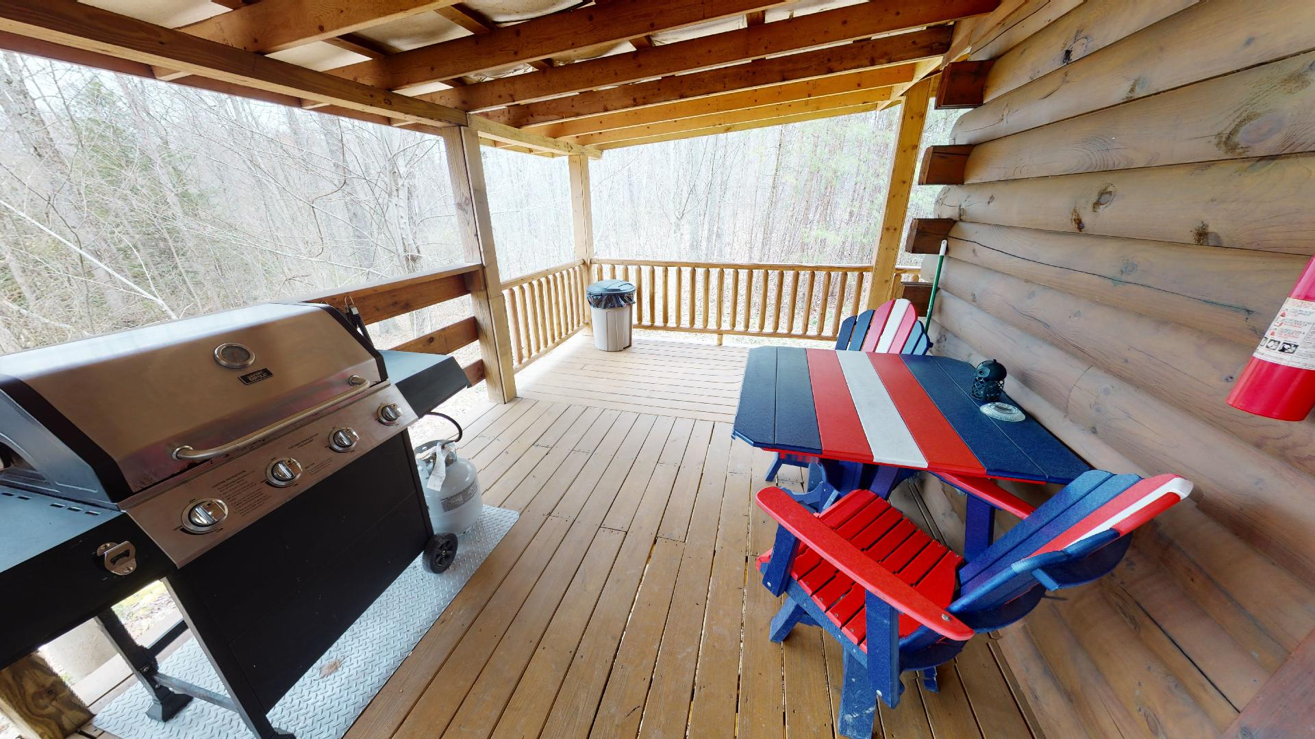 Silver Wolf Porch - Propane grill and outdoor seating.