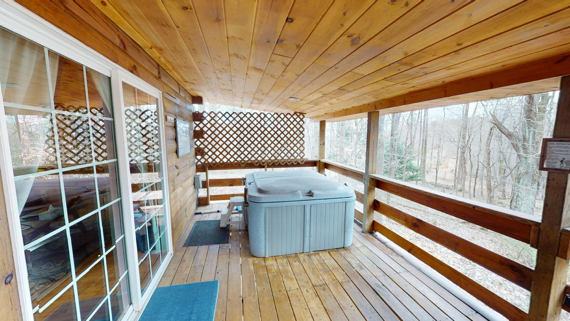 Photo 663_9210.jpg - Private 2 person hot tub on back porch.