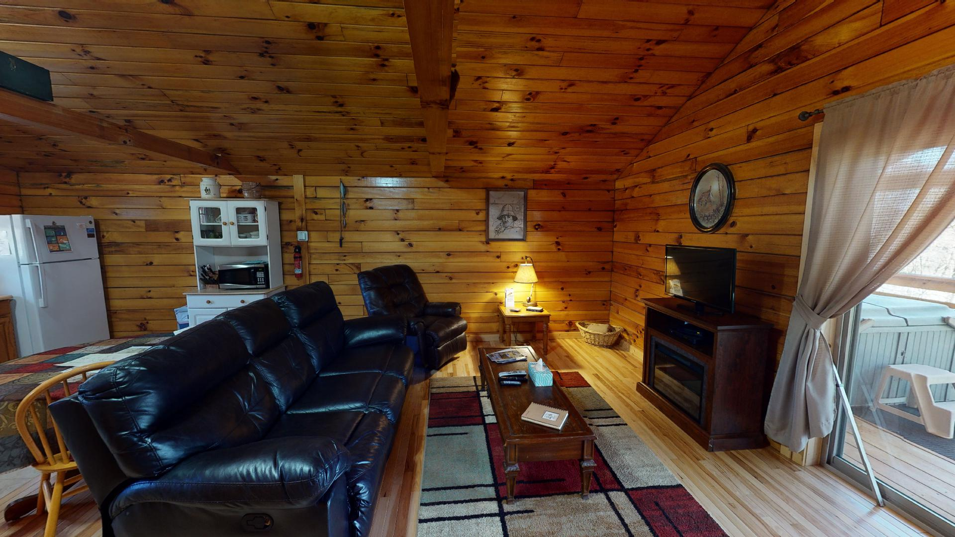 The Overlook Living Area - Living Area. DirecTV  electric fireplace.