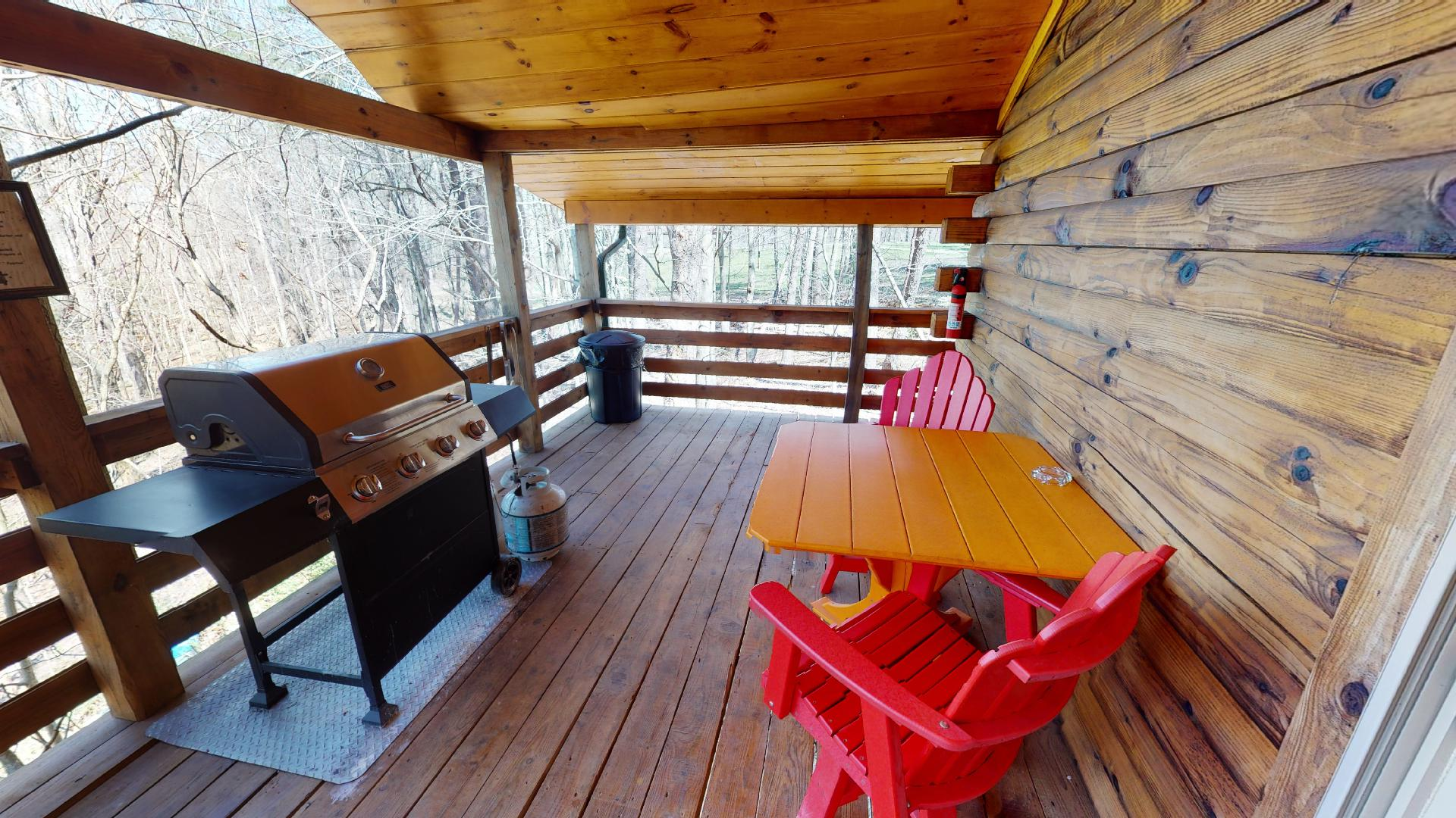 The Overlook - Seating area and propane grill.
